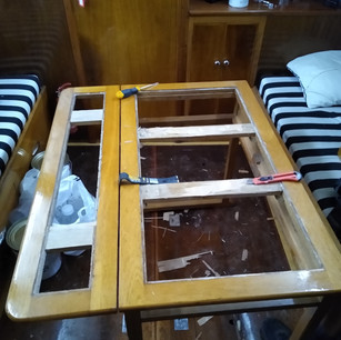 Vintage boat table before
