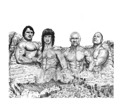 Body builder's Mt. Rushmore