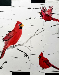 Cardinals and Birch Trees