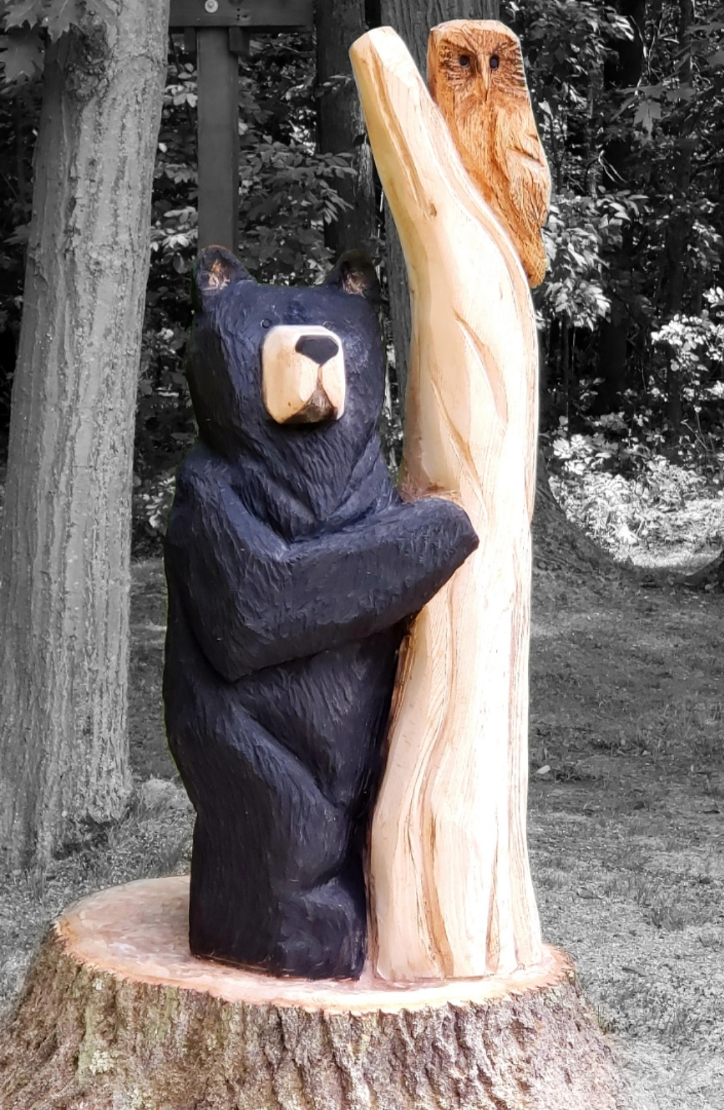 Oak Tree Bear and Owl