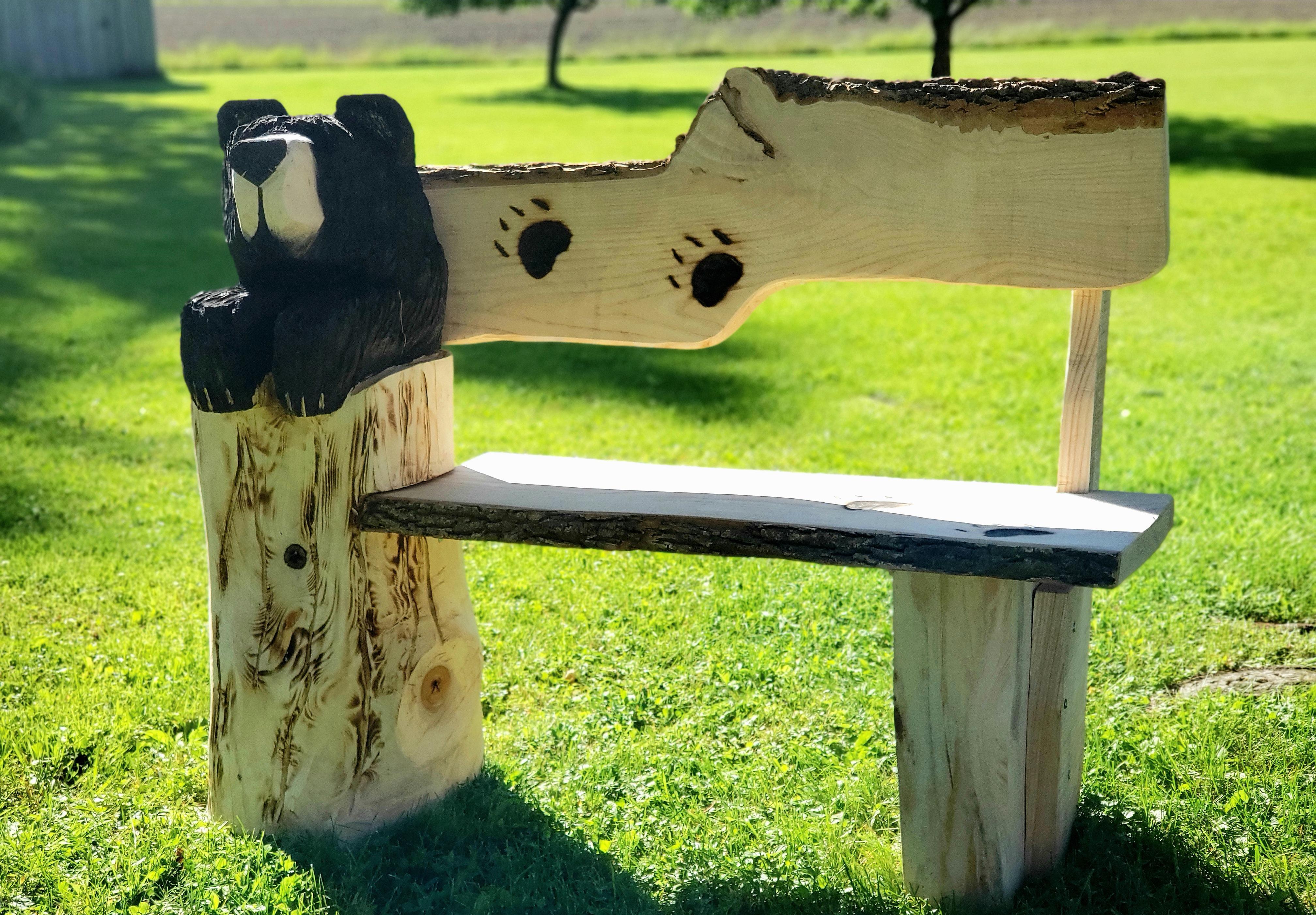 Rustic Bear Bench