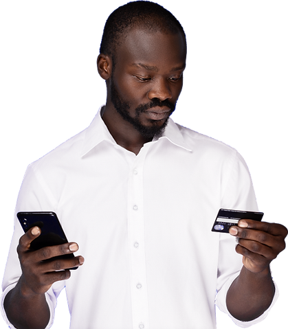 Man holding phone and card of BaseBusiness solution to accept mobile payments in Rwanda