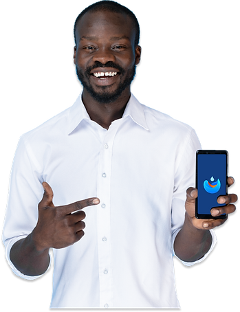 Man using Dina Water app for water purification in Africa