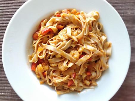 Whole-Grain Tagliatelle with Shrimps 🍝