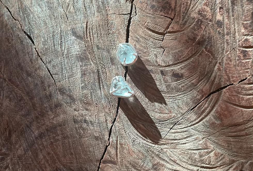 Topázio Azul brinco de prata