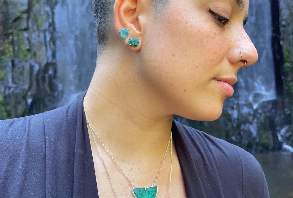 Turquesa Peruana corrente de prata moldura curta
