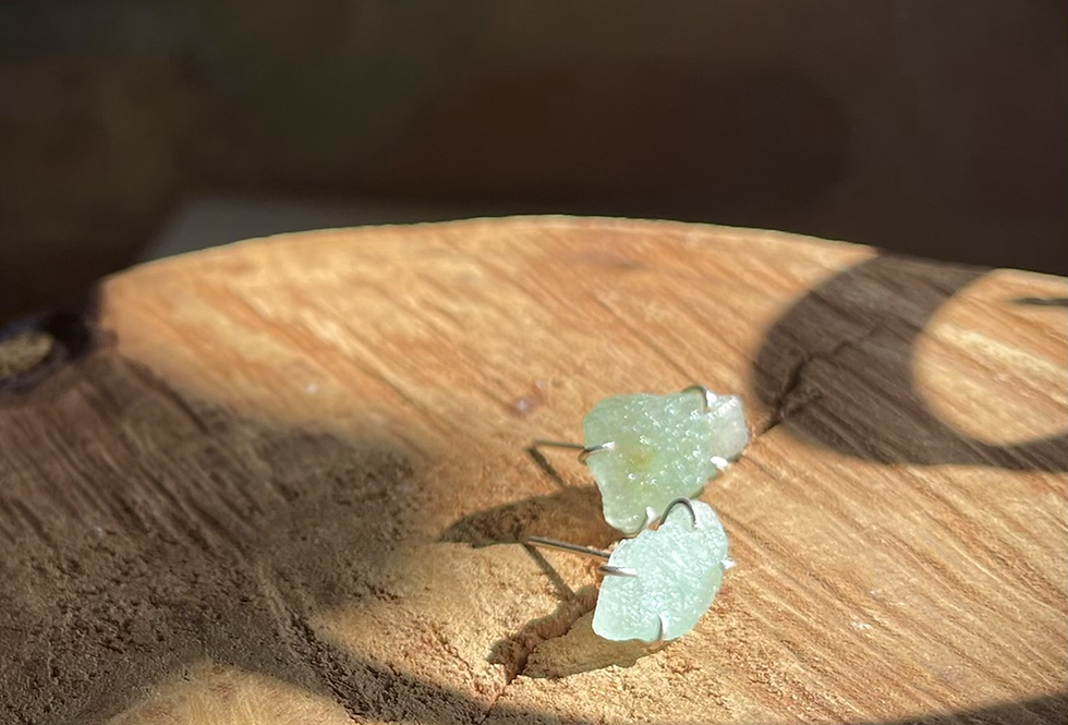Quartzo Verde brinco de prata