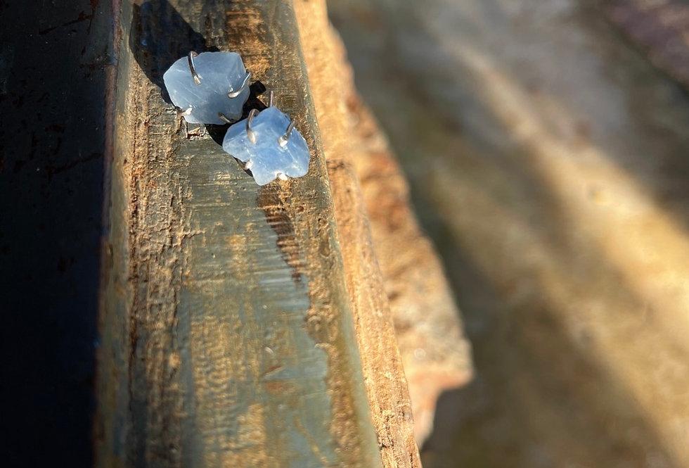 Calcita Azul brinco de prata