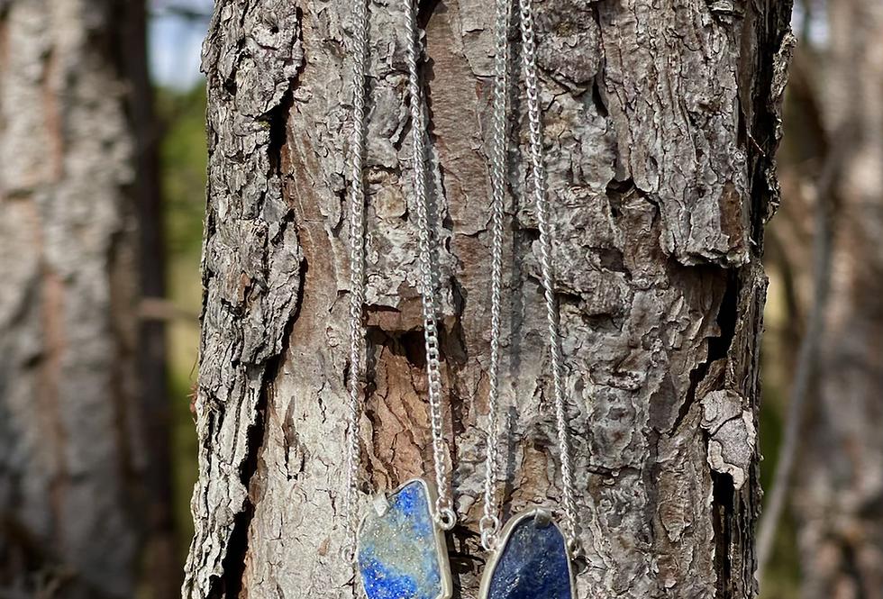 Lápis Lazuli e Sodalita escapulário moldura de prata