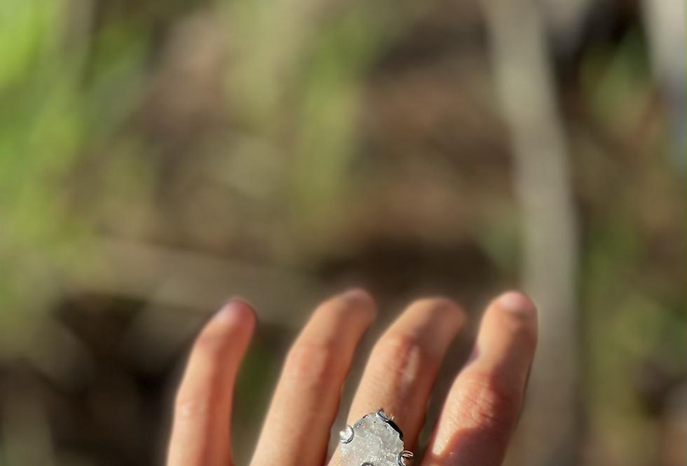 Pedra da Lua anel de prata