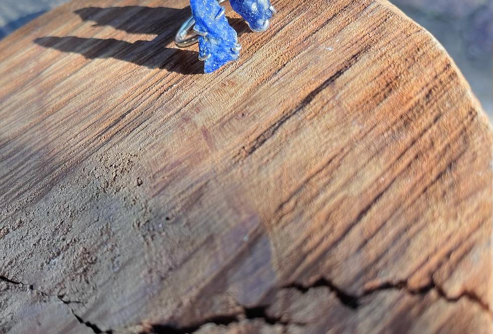 Lápis Lazuli e Sodalita  anel duplo de prata