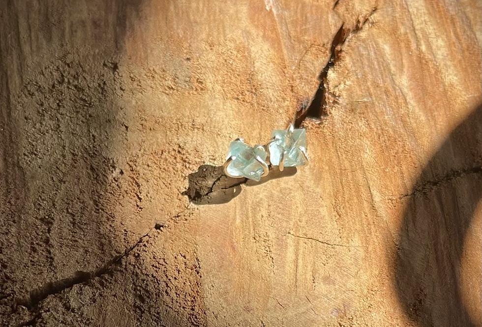 Fluorita Octaedra Verde brinco de prata