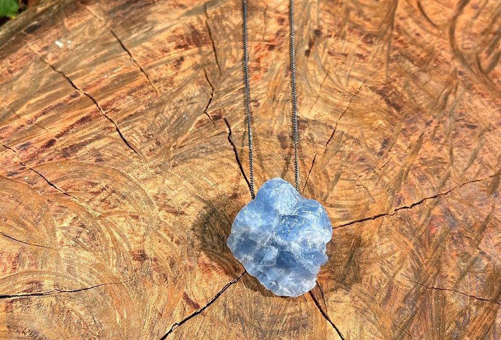 Calcita Azul corrente de prata longa oxidada