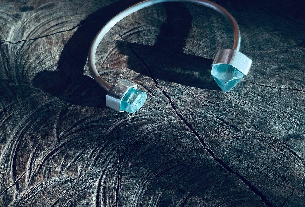 Topázio Azul bracelete de prata