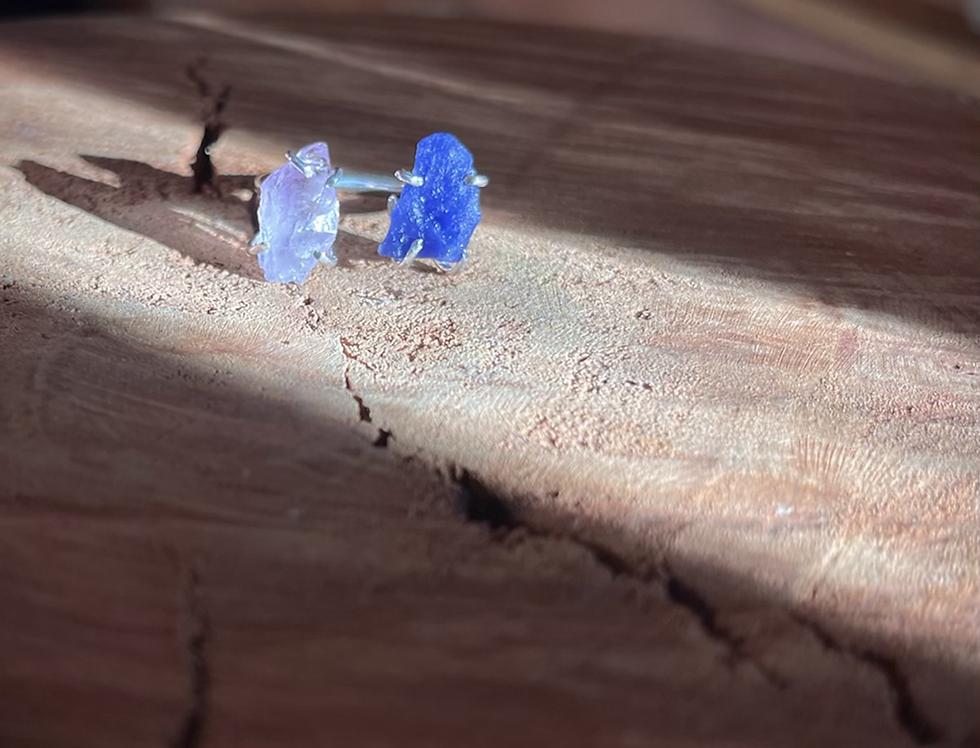 Ametista e Sodalita anel duplo de prata
