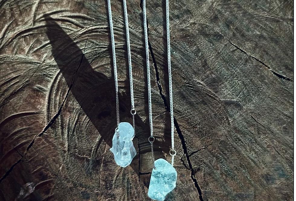 Celestita e Topázio Azul escapulário de prata