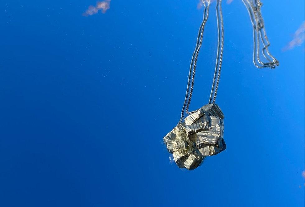 Pirita corrente de prata longa oxidada