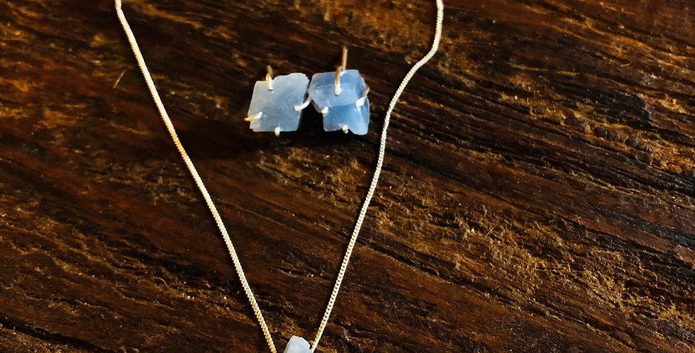 Calcita Azul Conjunto gargantilha e brinco de prata