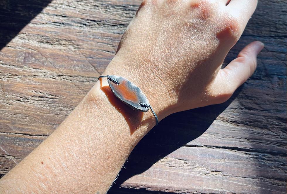 Ágata de Fogo pulseira de prata