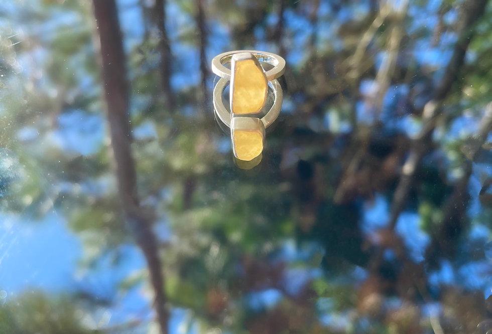 Calcita Amarela anel de prata