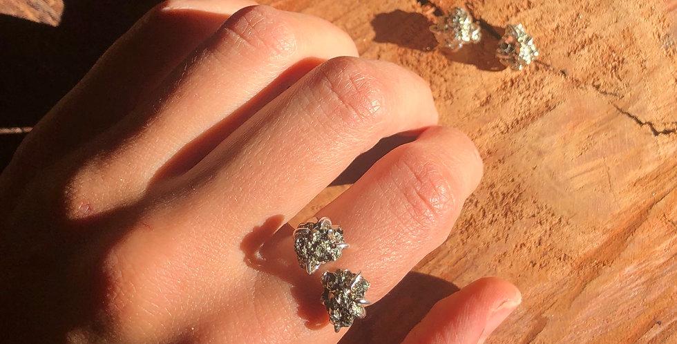 Pirita Conjunto brinco e anel duplo de prata