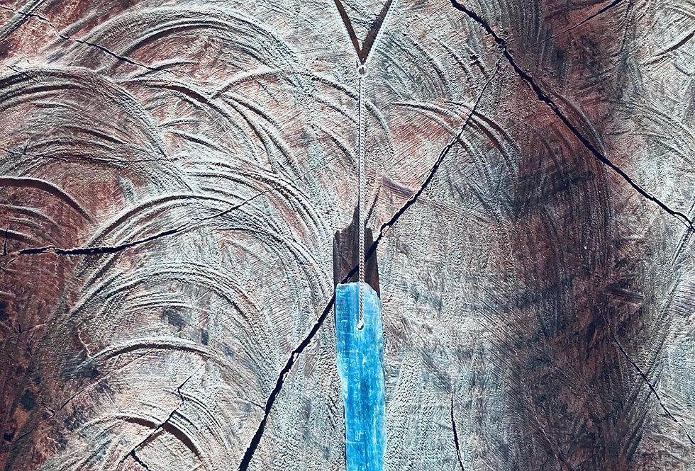 Cianita Azul grande pêndulo de prata