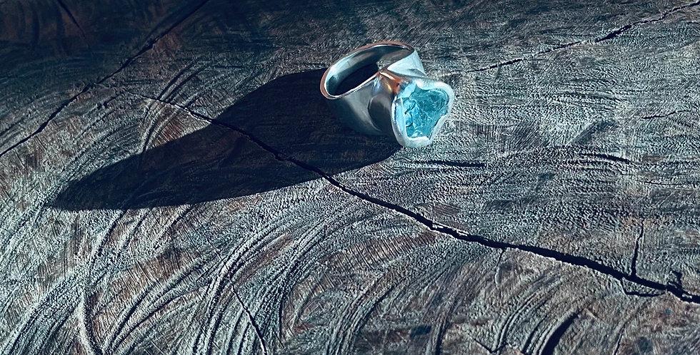 Topázio azul anel de prata
