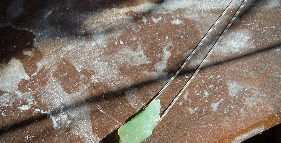 Quartzo Verde corrente de prata curta