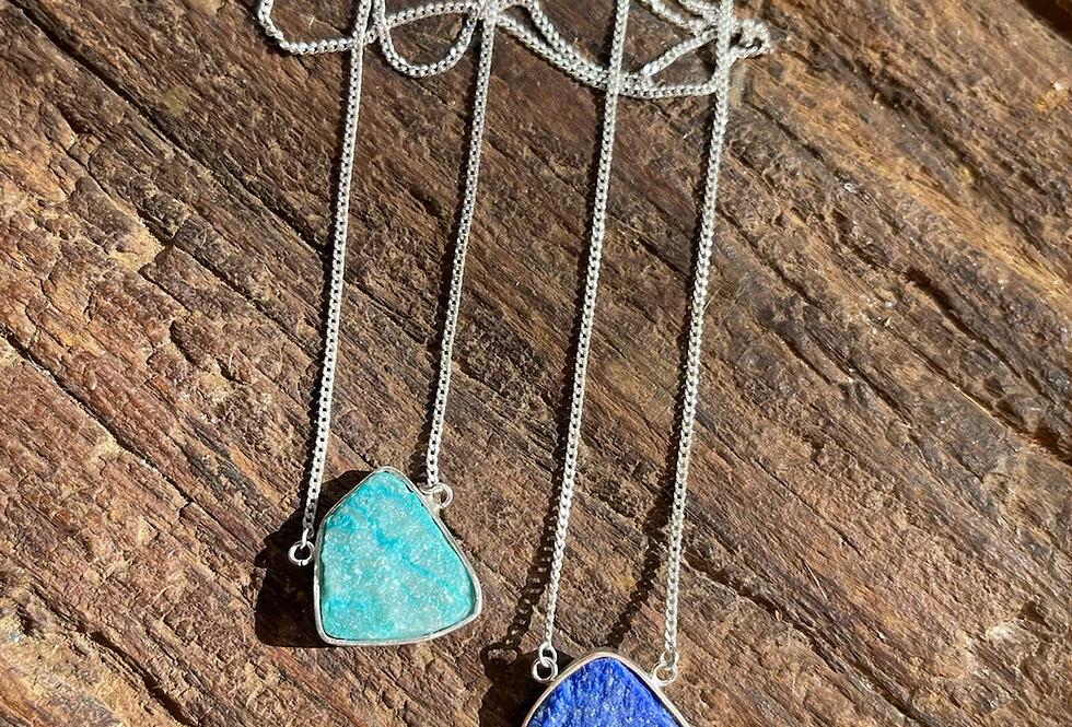Lápis Lazuli e Turquesa Peruana escapulário moldura de prata