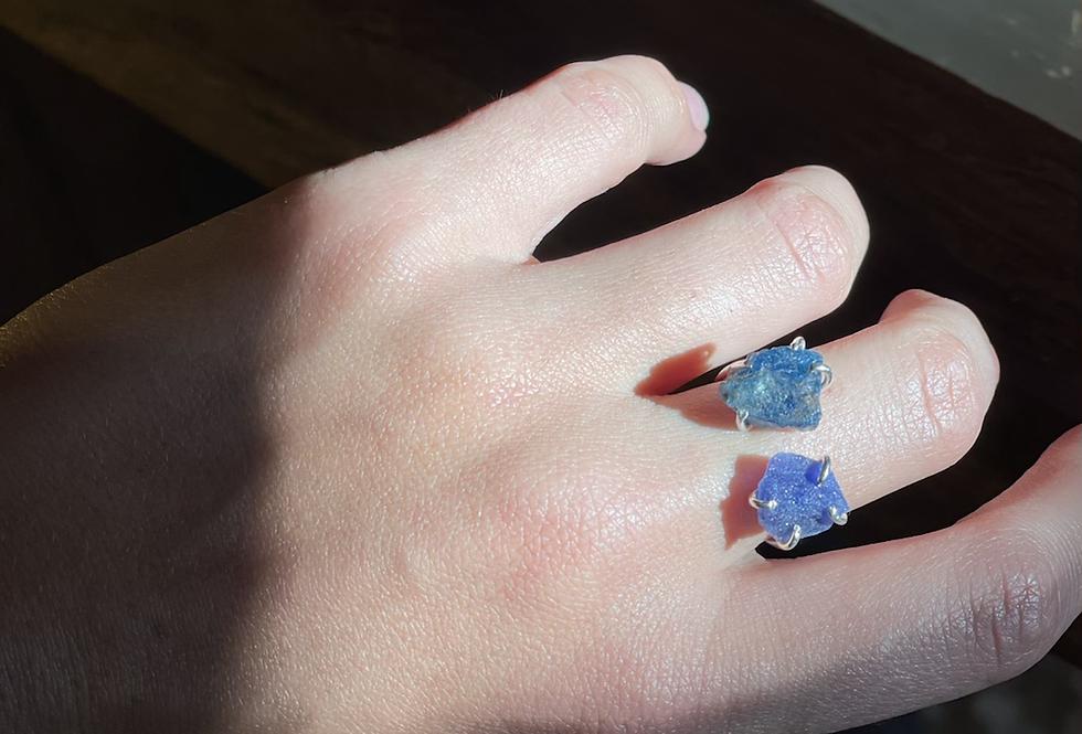 Apatita Índigo e Sodalita  anel duplo de prata