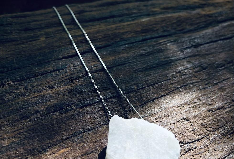 Pedra da Lua corrente de prata longa