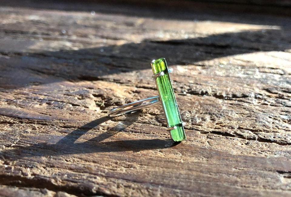 Turmalina Verde anel de prata nº16
