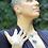 Thumbnail: Cianita Azul corrente de prata moldura curta