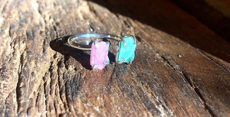 Esmeralda e Turmalina Rosa anel duplo de prata