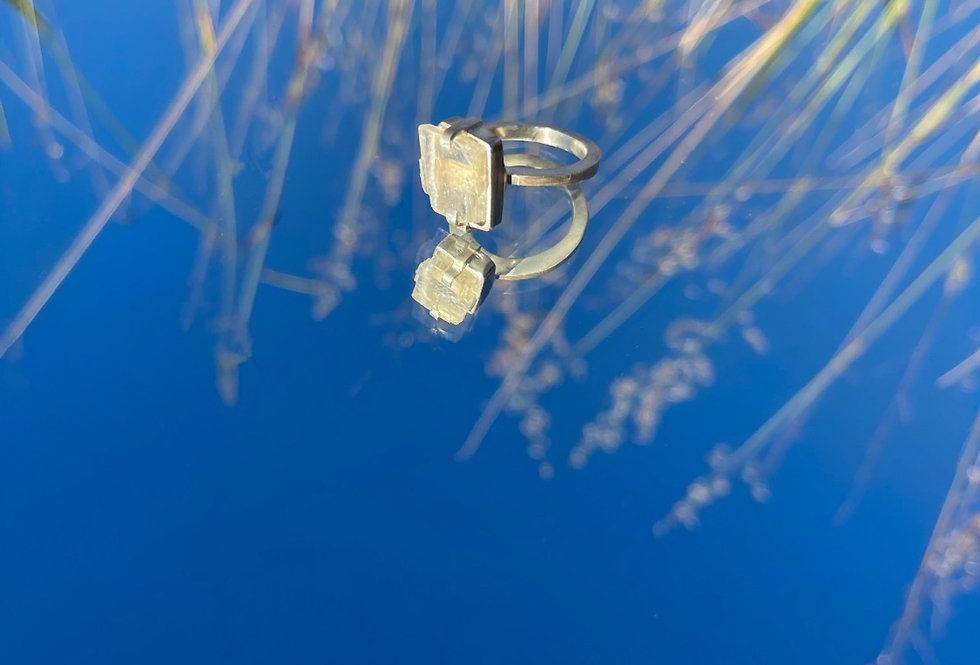 Calcita Óptica Amarela anel de prata