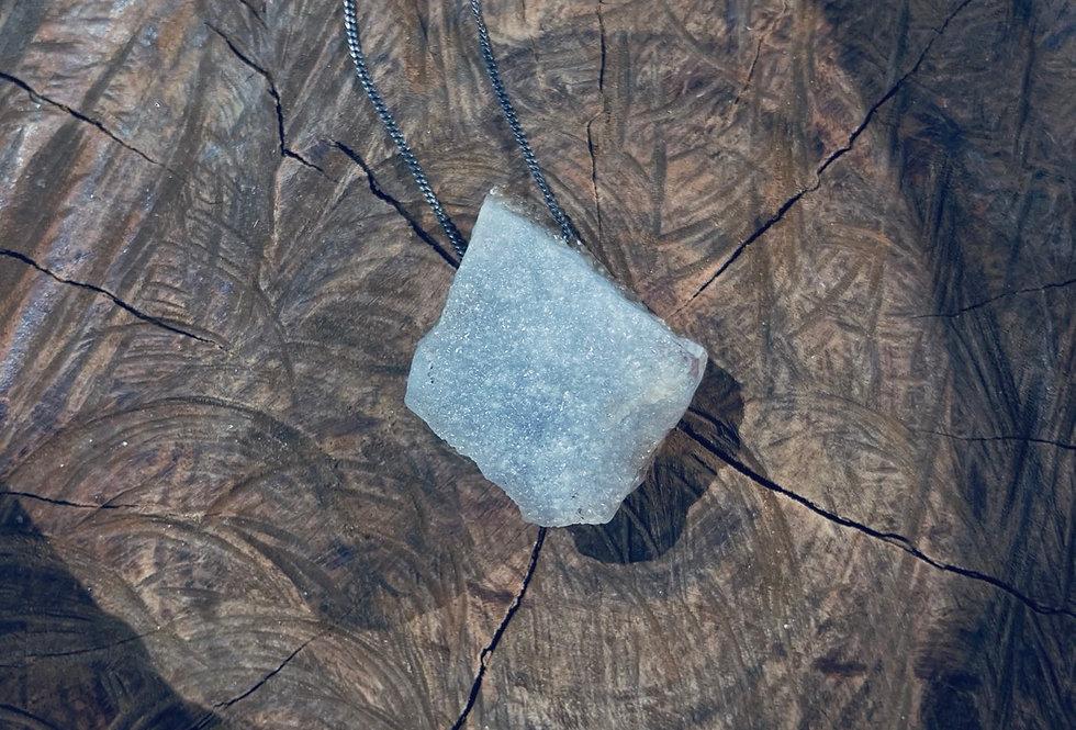 Calcedônia grande corrente de prata longa