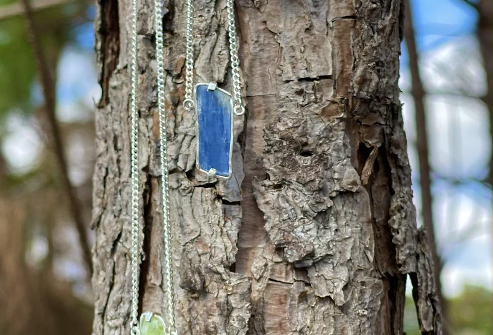Cianita Azul e Cianita Verde escapulário moldura de prata