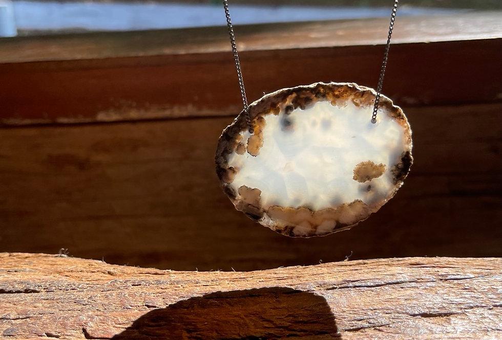 Ágata corrente de prata curta oxidada com extensor