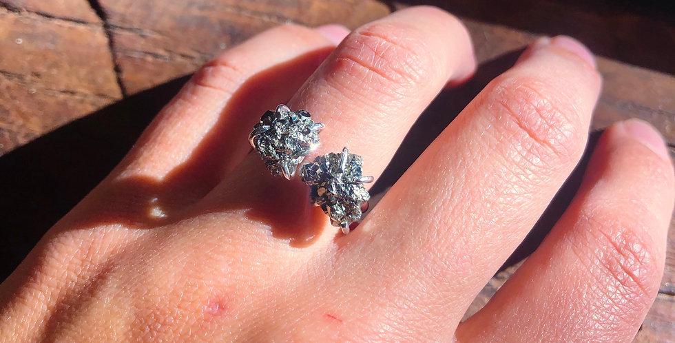Pirita anel duplo de prata