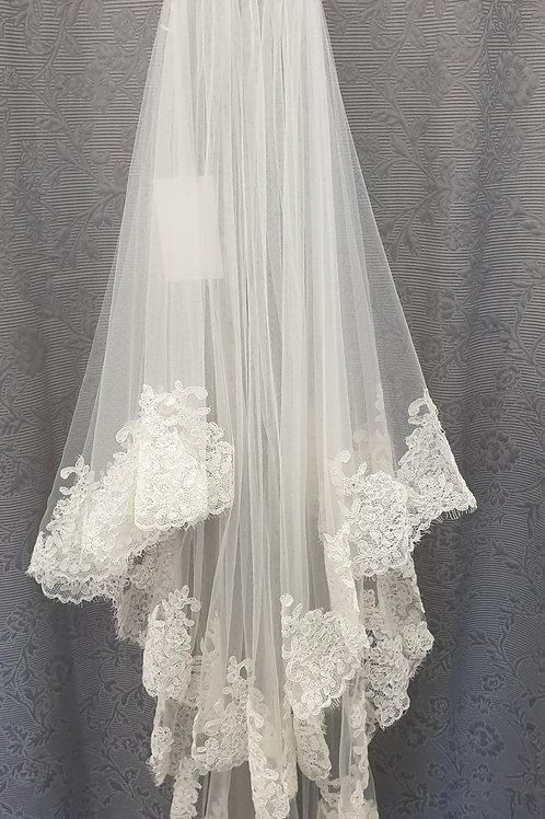 Lace edge circular veil, Ivory