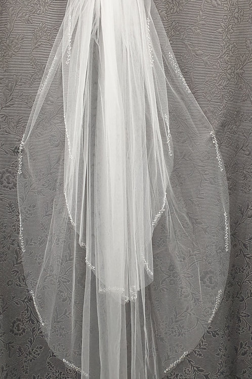 Split Bugle Bead Veil in Silk White