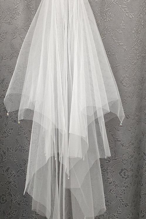 AB Crystal Drop Veil, White