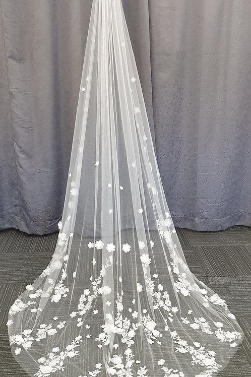 3D 1 Layer Veil, Ivory 280cm