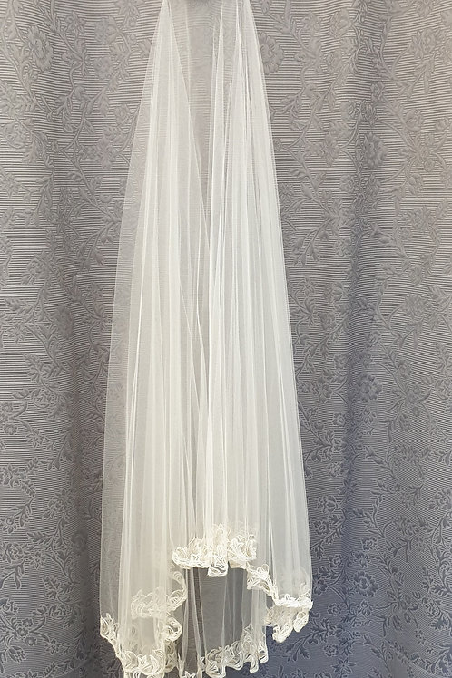 Beaded edge Veil, silk white
