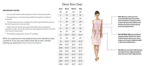 Dessy Sizes 16,18W-30W Surcharge per dress