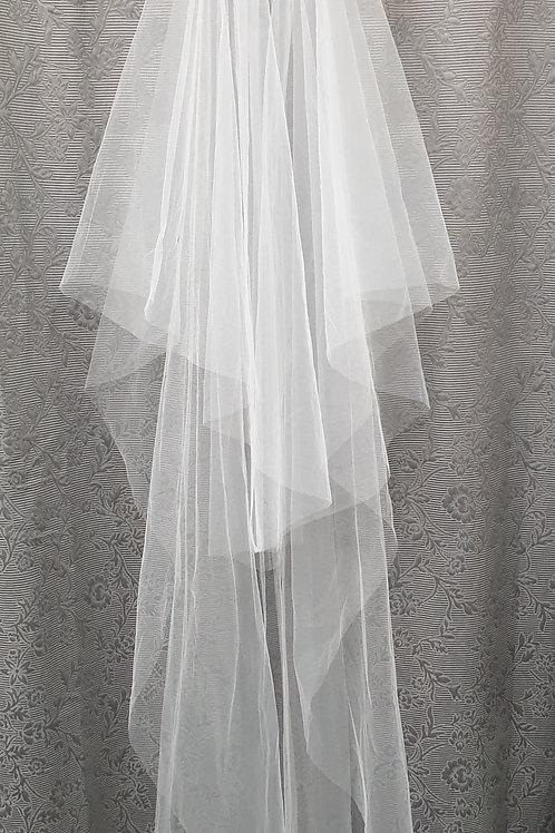 1/2 CC Raw cut veil, White