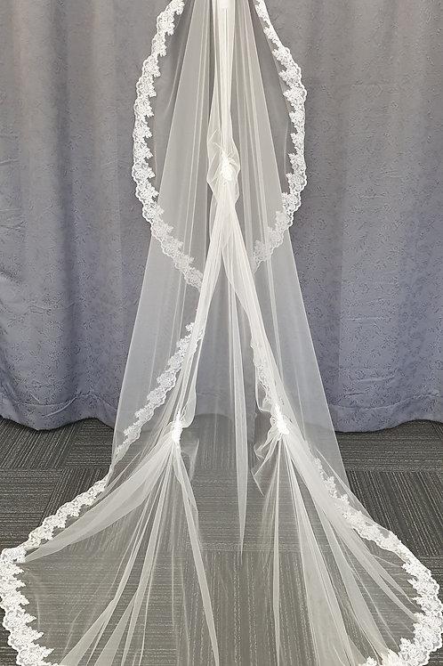 260cm 1 Layer Veil, Ivory
