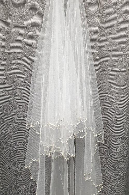 1/2 CC Chain Stitch veil, Silk White