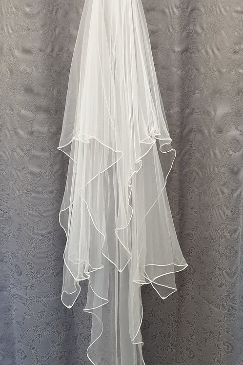 Satin binding Veil, White