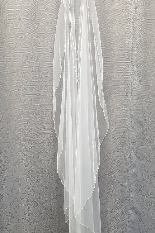 Single beaded Edge with drop Veil, White